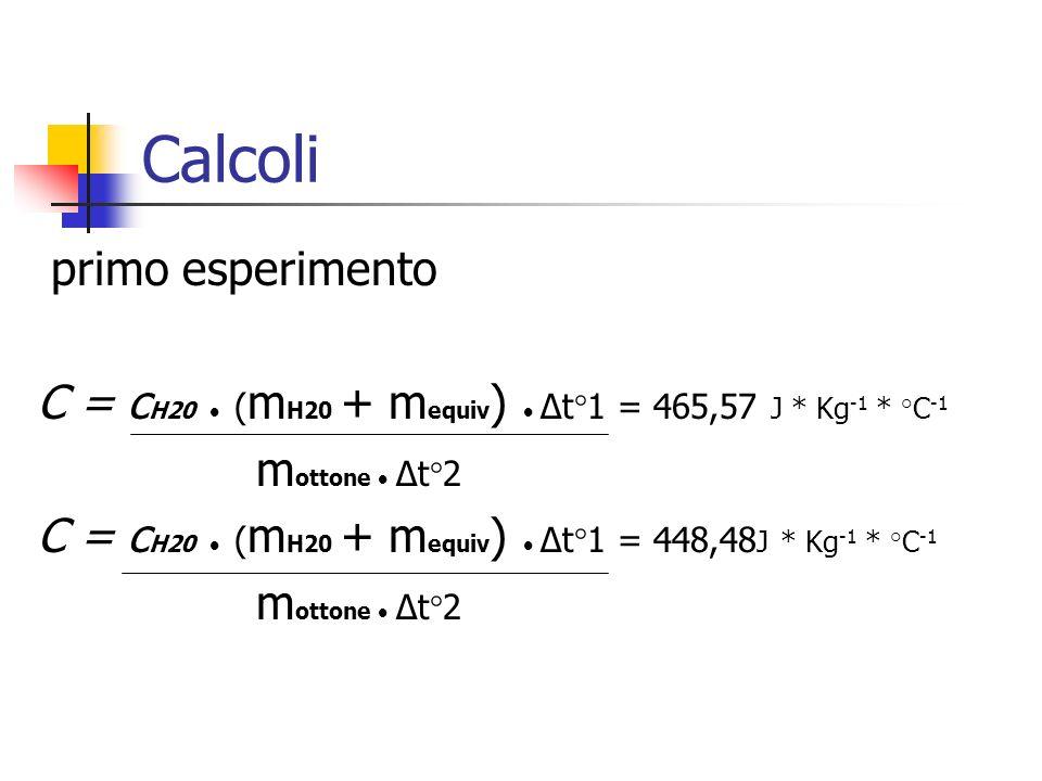 Calcoli primo esperimento