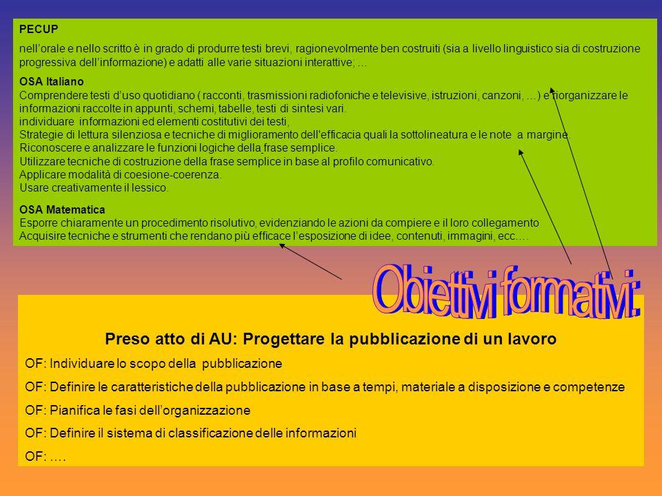 Preso atto di AU: Progettare la pubblicazione di un lavoro