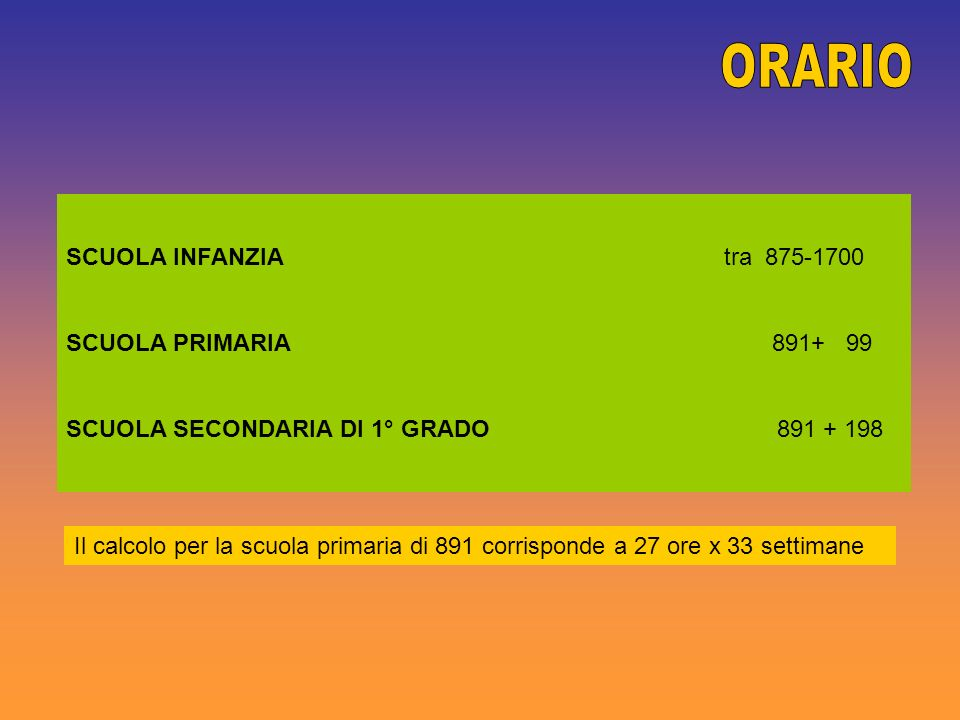 ORARIO SCUOLA INFANZIA tra 875-1700 SCUOLA PRIMARIA 891+ 99