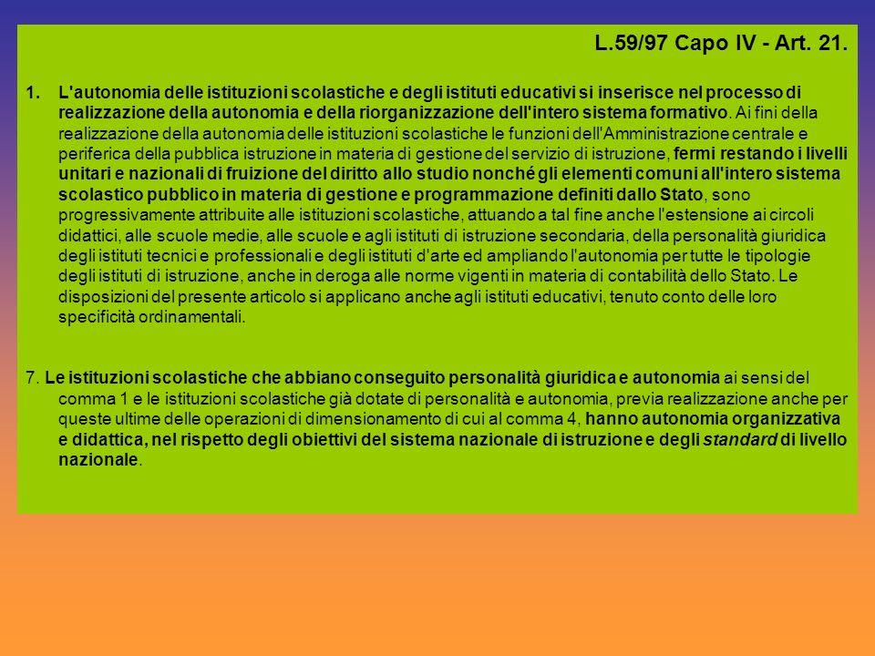 L.59/97 Capo IV - Art. 21.