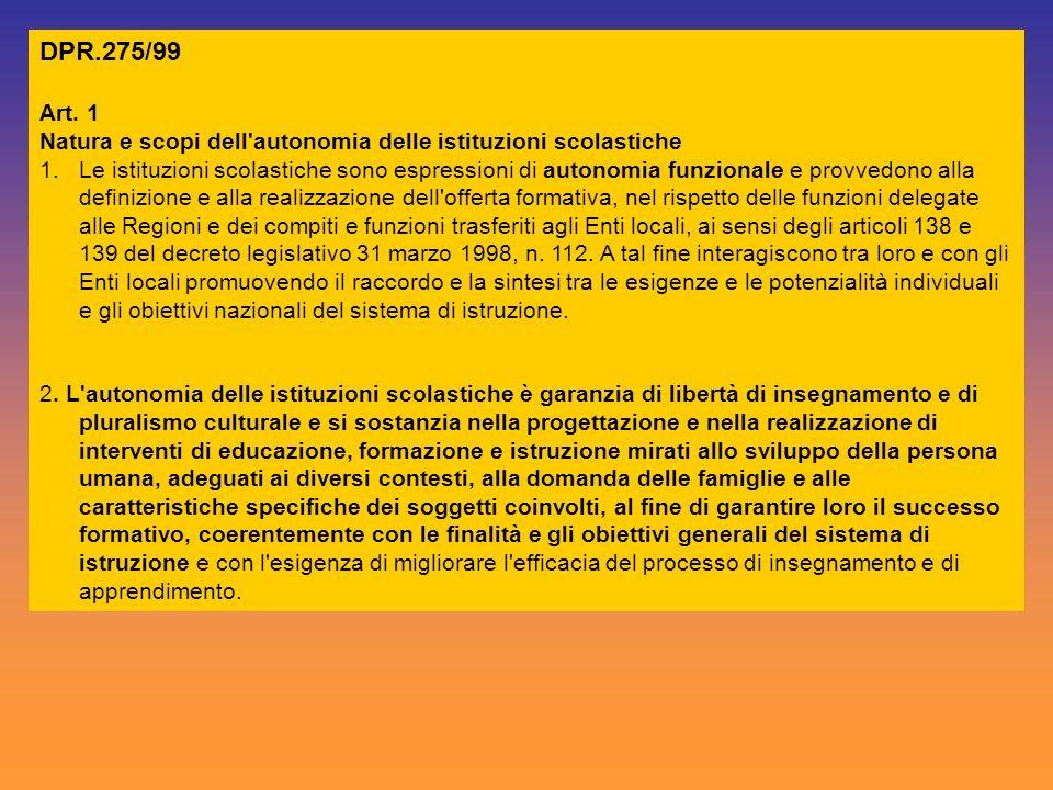 DPR.275/99 Art. 1. Natura e scopi dell autonomia delle istituzioni scolastiche.