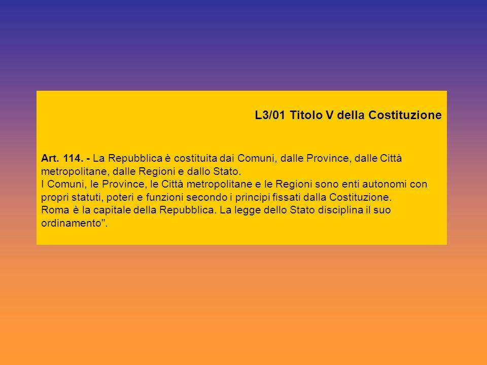 L3/01 Titolo V della Costituzione