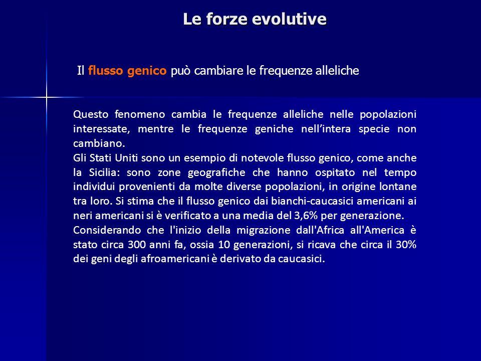 Le forze evolutiveIl flusso genico può cambiare le frequenze alleliche.