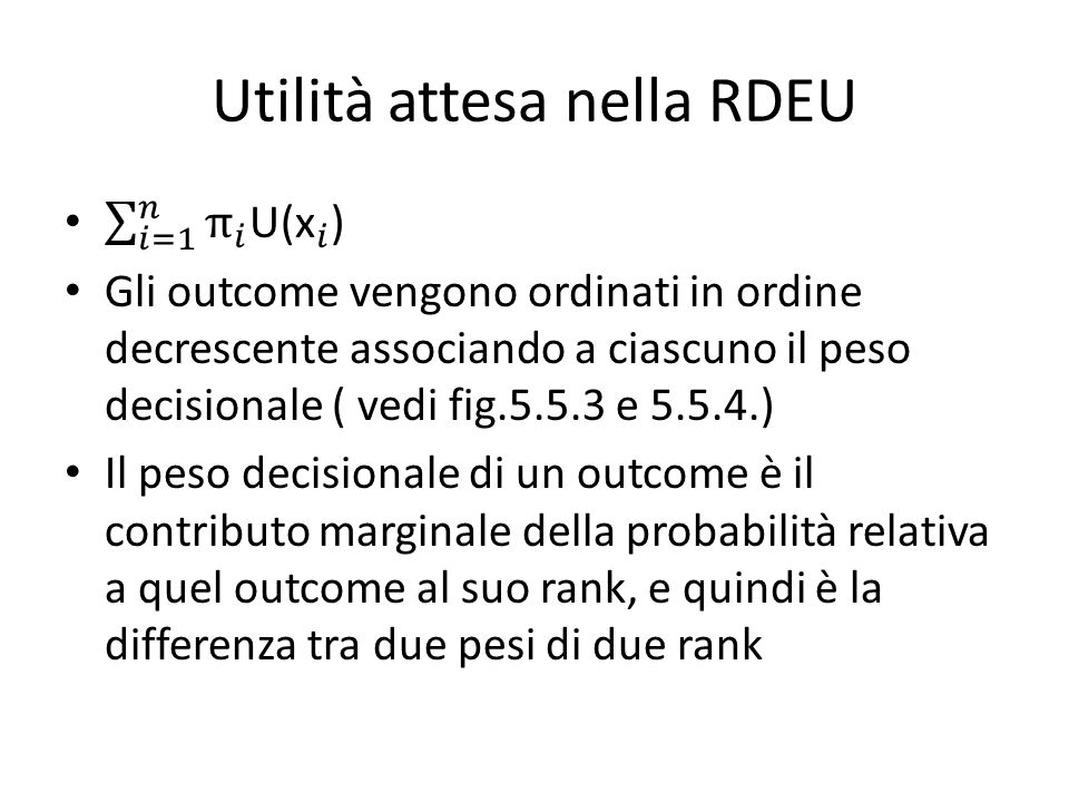 Utilità attesa nella RDEU