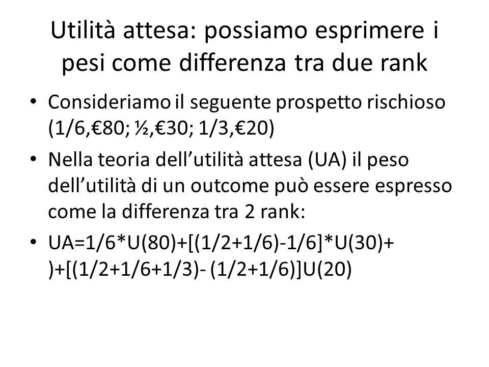 Utilità attesa: possiamo esprimere i pesi come differenza tra due rank