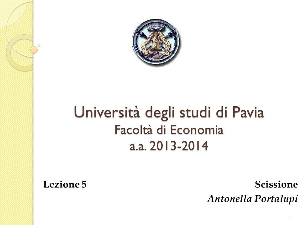 Università degli studi di Pavia Facoltà di Economia a.a. 2013-2014