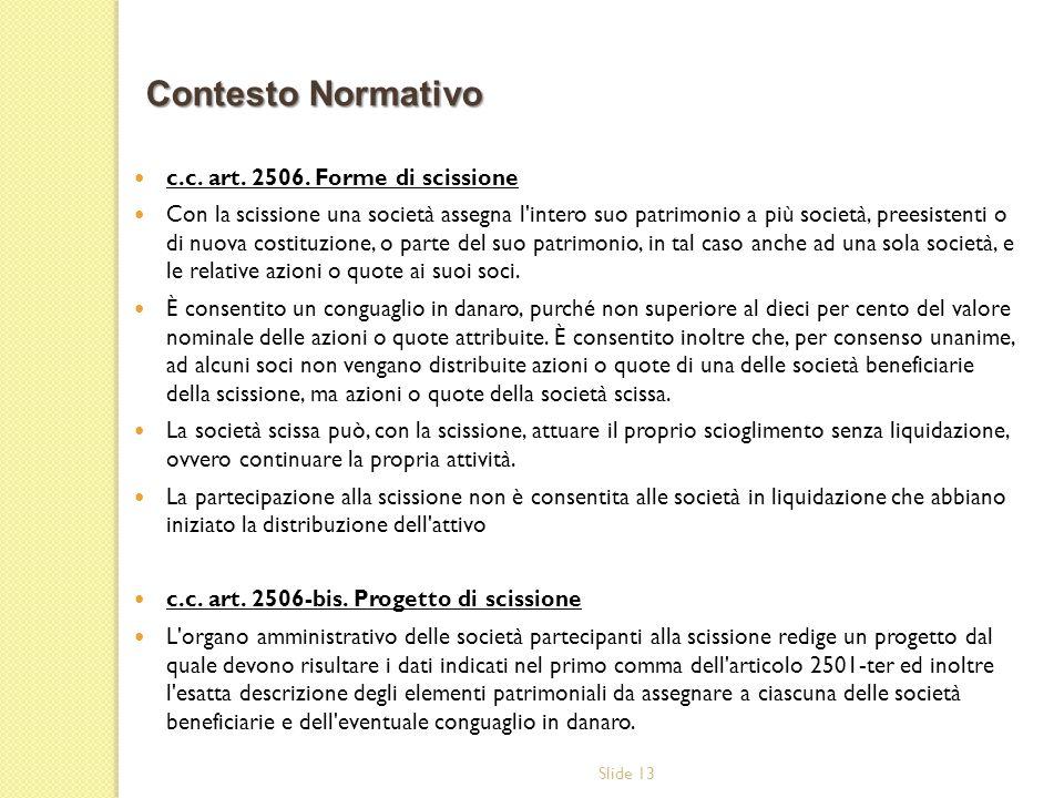 Contesto Normativo c.c. art. 2506. Forme di scissione