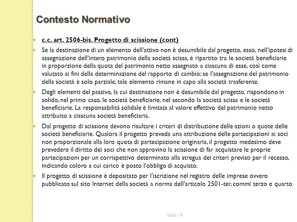 Contesto Normativo c.c. art. 2506-bis. Progetto di scissione (cont)