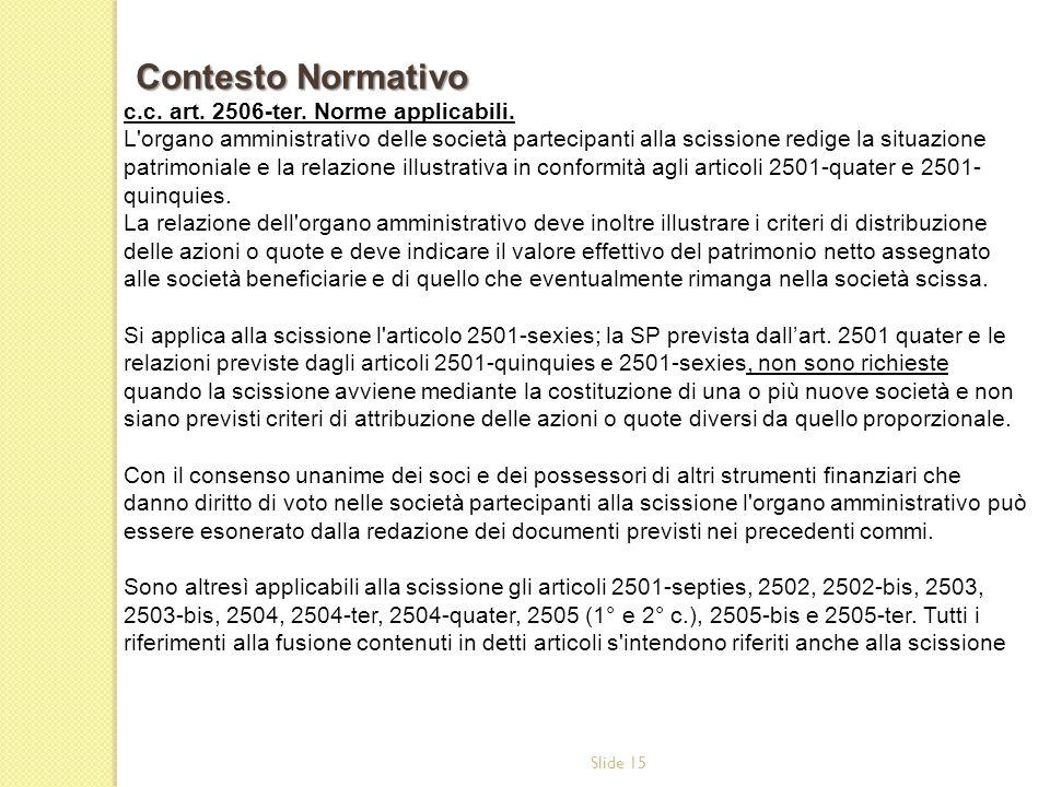 Contesto Normativo c.c. art. 2506-ter. Norme applicabili.