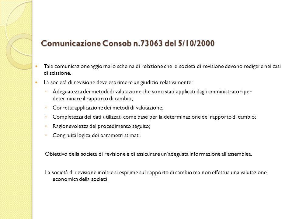 Comunicazione Consob n.73063 del 5/10/2000