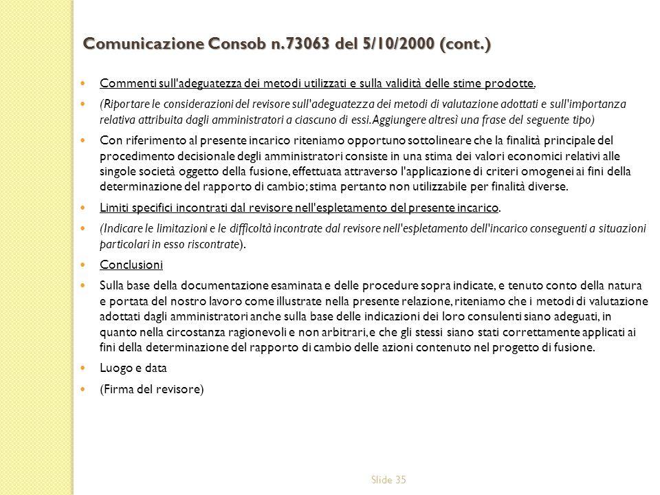 Comunicazione Consob n.73063 del 5/10/2000 (cont.)