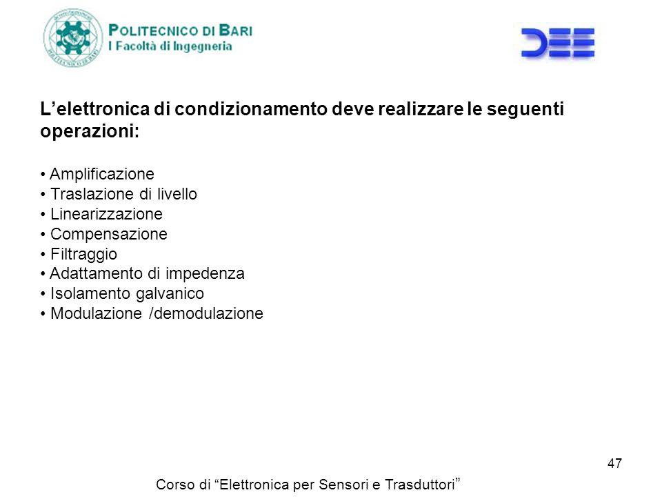 L'elettronica di condizionamento deve realizzare le seguenti operazioni: