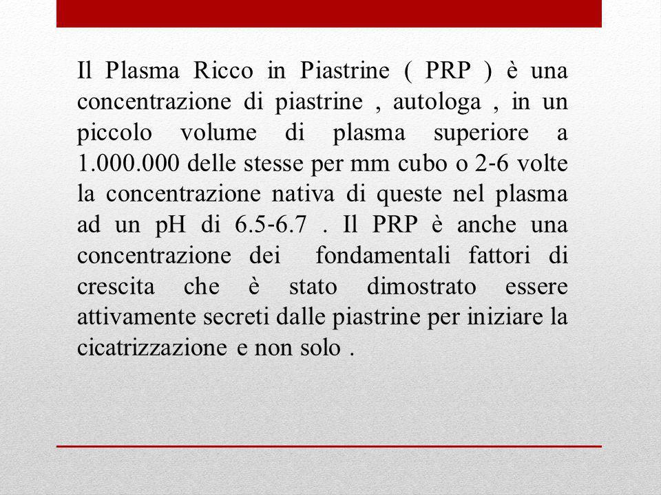 Il Plasma Ricco in Piastrine ( PRP ) è una concentrazione di piastrine , autologa , in un piccolo volume di plasma superiore a 1.000.000 delle stesse per mm cubo o 2‐6 volte la concentrazione nativa di queste nel plasma ad un pH di 6.5‐6.7 .