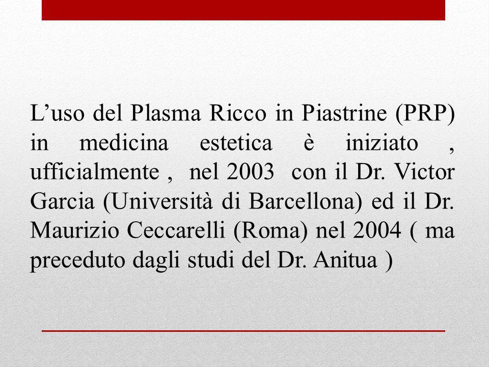 L'uso del Plasma Ricco in Piastrine (PRP) in medicina estetica è iniziato , ufficialmente , nel 2003 con il Dr.