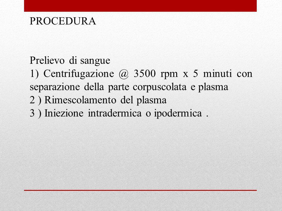 PROCEDURA Prelievo di sangue. 1) Centrifugazione @ 3500 rpm x 5 minuti con separazione della parte corpuscolata e plasma.
