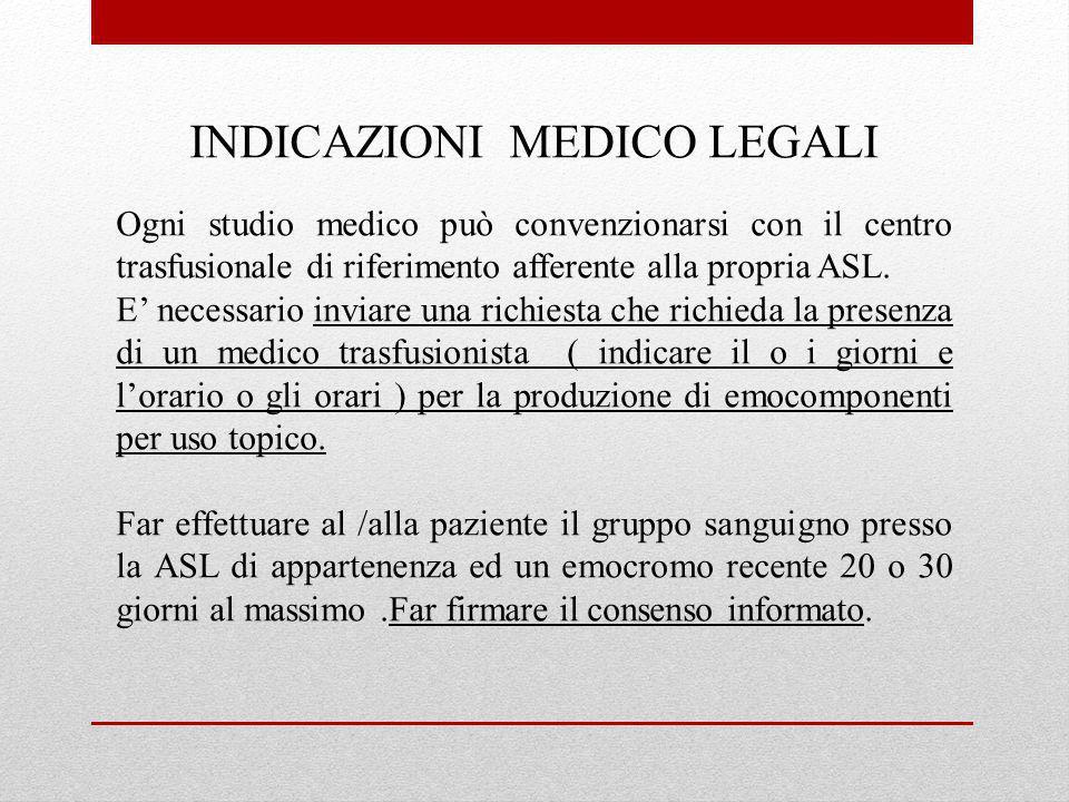 INDICAZIONI MEDICO LEGALI
