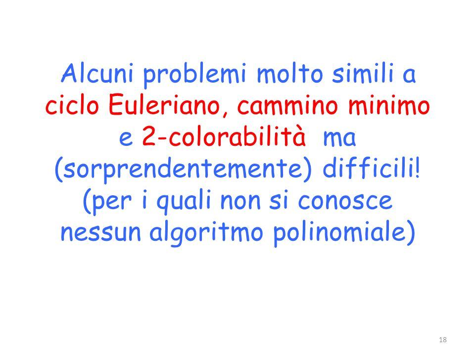 Alcuni problemi molto simili a ciclo Euleriano, cammino minimo e 2-colorabilità ma (sorprendentemente) difficili.