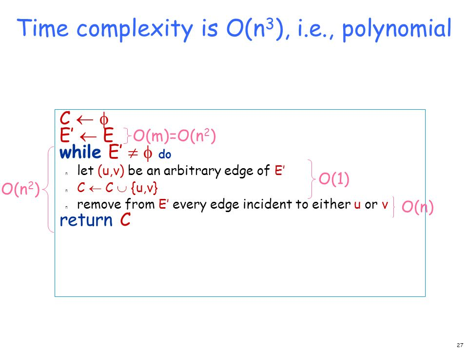 Time complexity is O(n3), i.e., polynomial