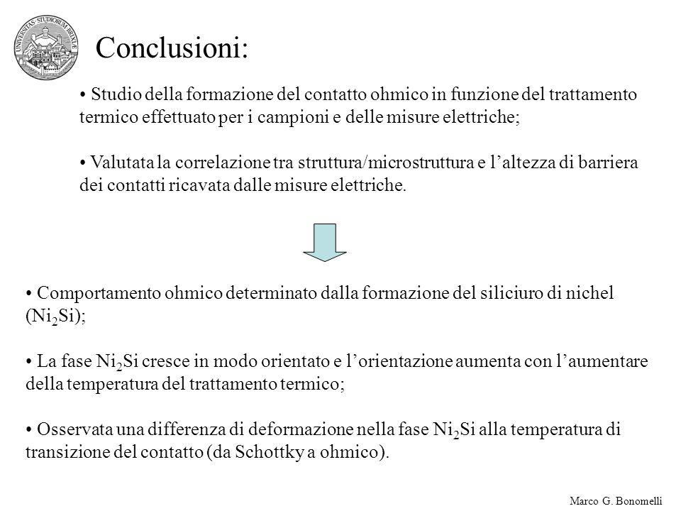 Conclusioni: Studio della formazione del contatto ohmico in funzione del trattamento termico effettuato per i campioni e delle misure elettriche;