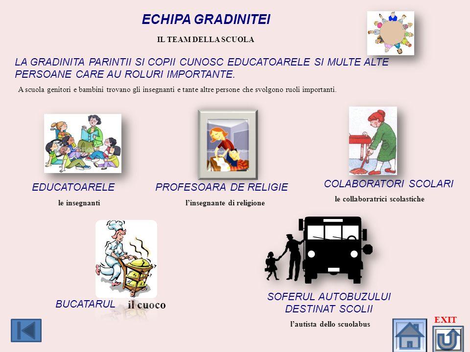 ECHIPA GRADINITEI. IL TEAM DELLA SCUOLA. LA GRADINITA PARINTII SI COPII CUNOSC EDUCATOARELE SI MULTE ALTE PERSOANE CARE AU ROLURI IMPORTANTE.