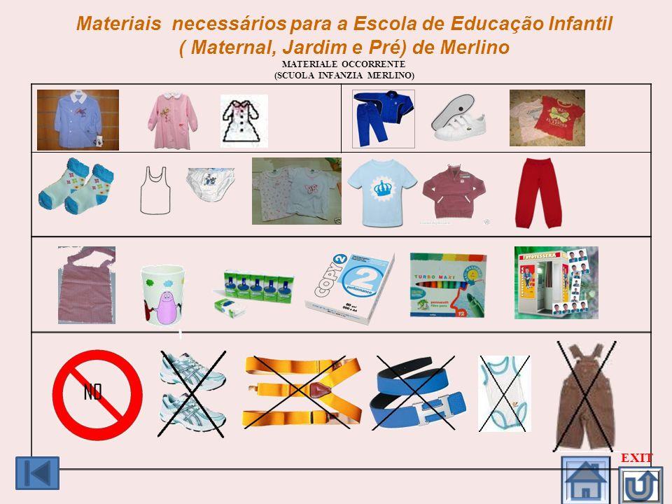 Materiais necessários para a Escola de Educação Infantil