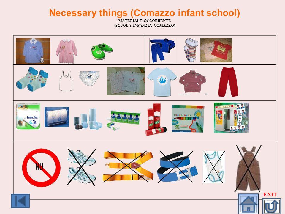 Necessary things (Comazzo infant school) (SCUOLA INFANZIA COMAZZO)