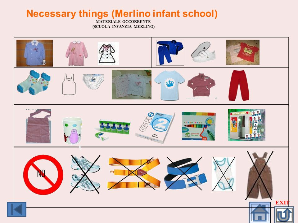 Necessary things (Merlino infant school) (SCUOLA INFANZIA MERLINO)