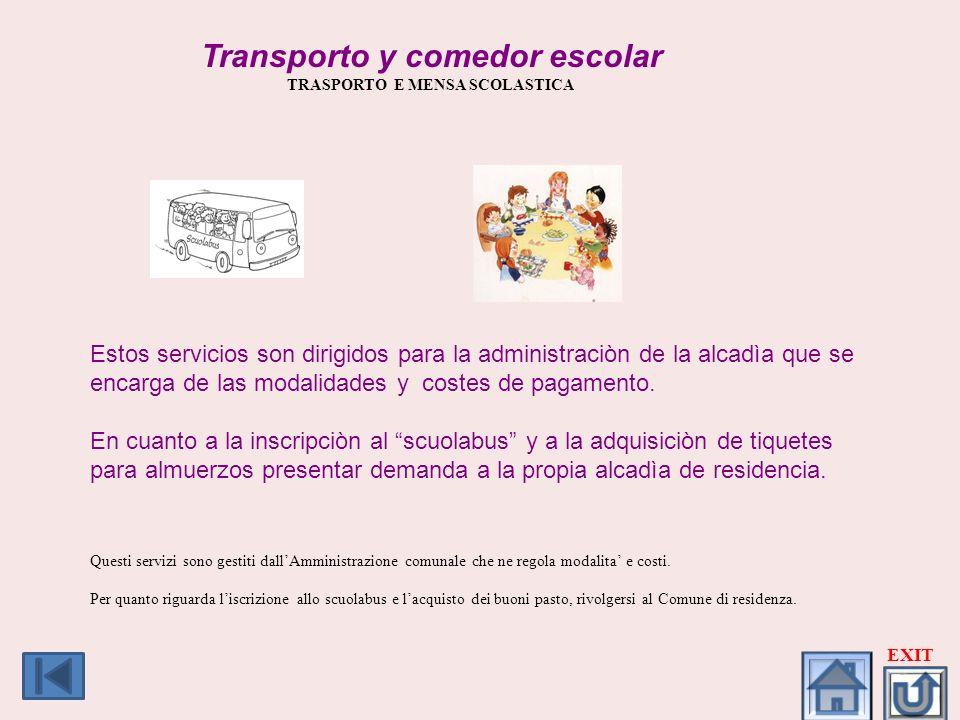 Transporto y comedor escolar TRASPORTO E MENSA SCOLASTICA