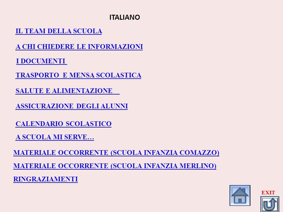 ITALIANO IL TEAM DELLA SCUOLA A CHI CHIEDERE LE INFORMAZIONI