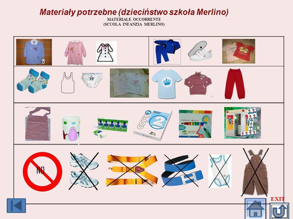 Materiały potrzebne (dzieciństwo szkoła Merlino)