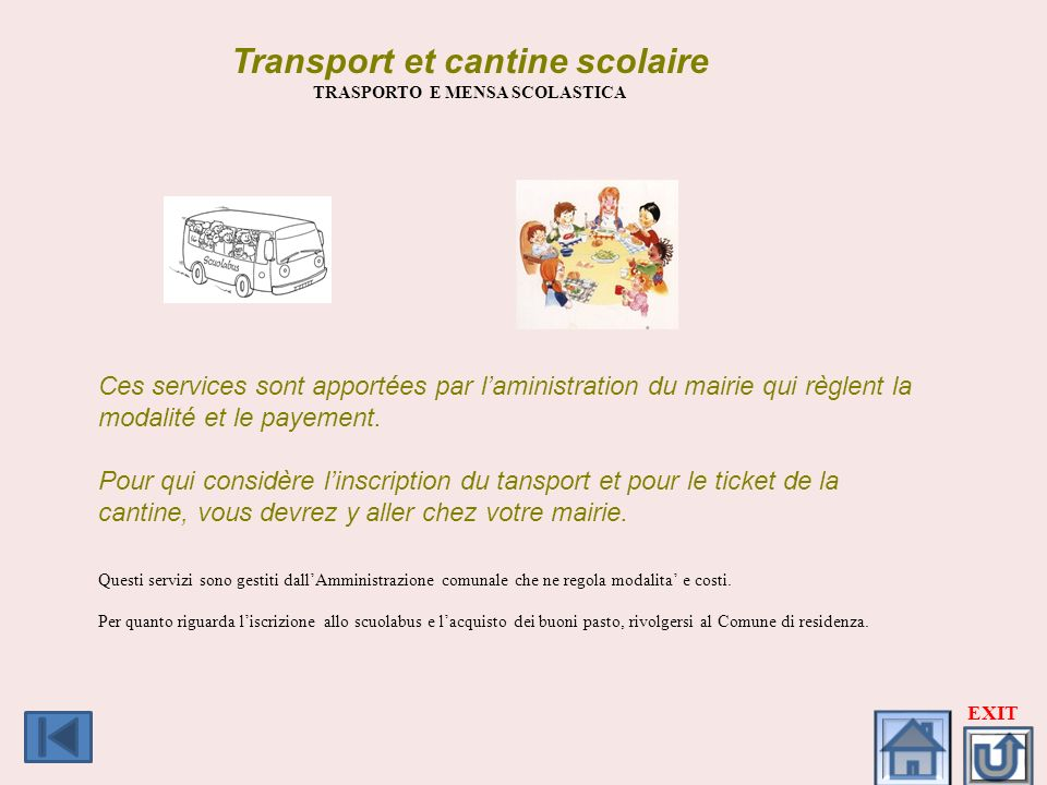 Transport et cantine scolaire TRASPORTO E MENSA SCOLASTICA