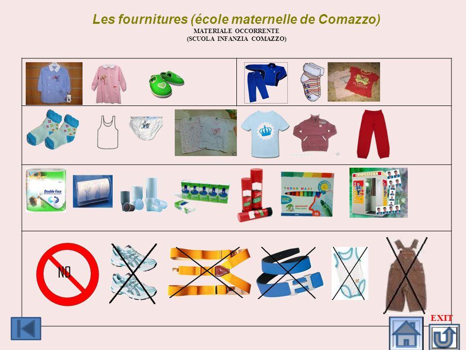 Les fournitures (école maternelle de Comazzo)