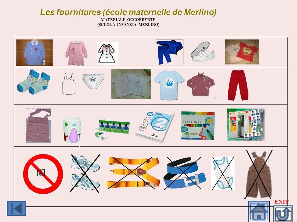 Les fournitures (école maternelle de Merlino)