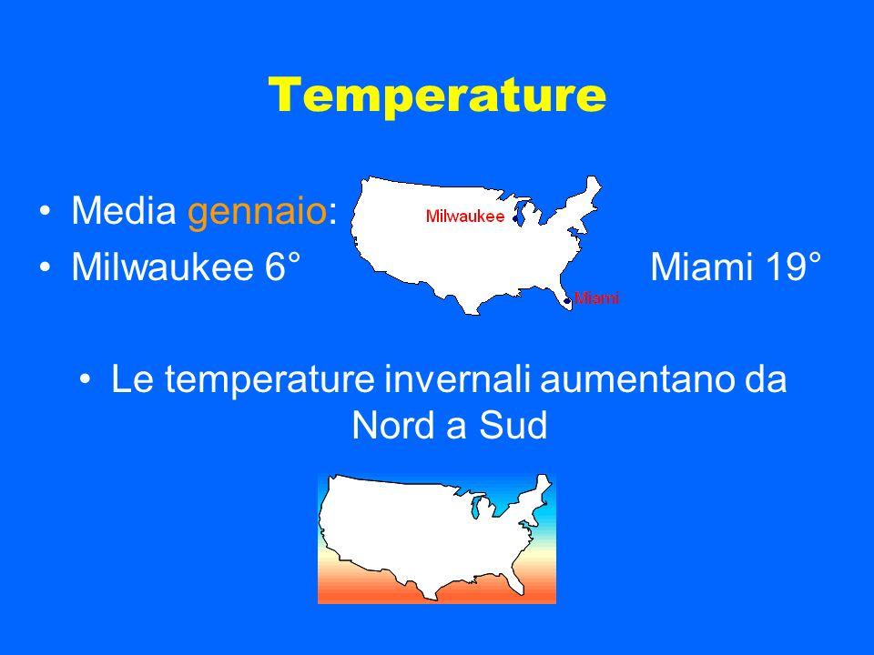 Le temperature invernali aumentano da Nord a Sud
