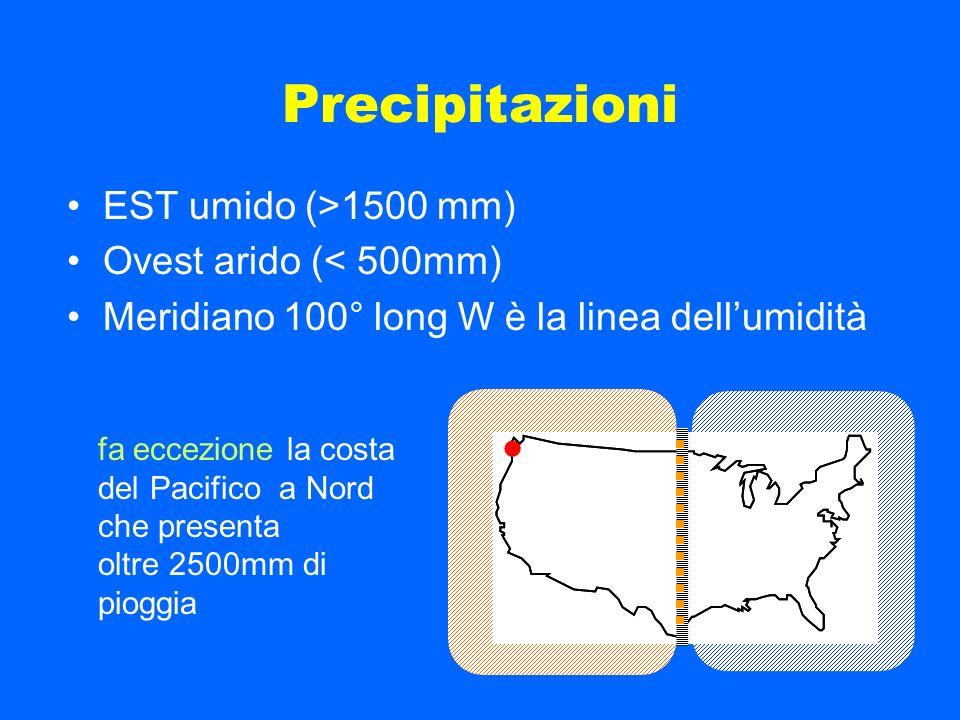 Precipitazioni EST umido (>1500 mm) Ovest arido (< 500mm)