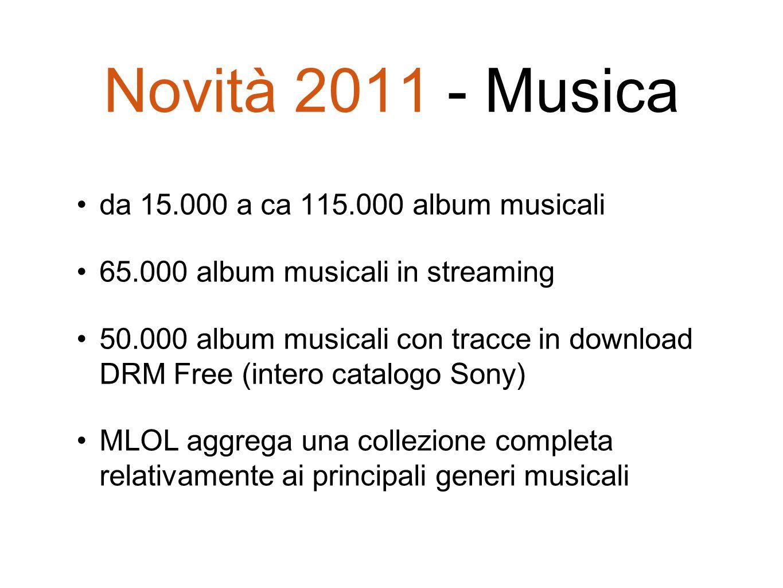 Novità 2011 - Musica da 15.000 a ca 115.000 album musicali