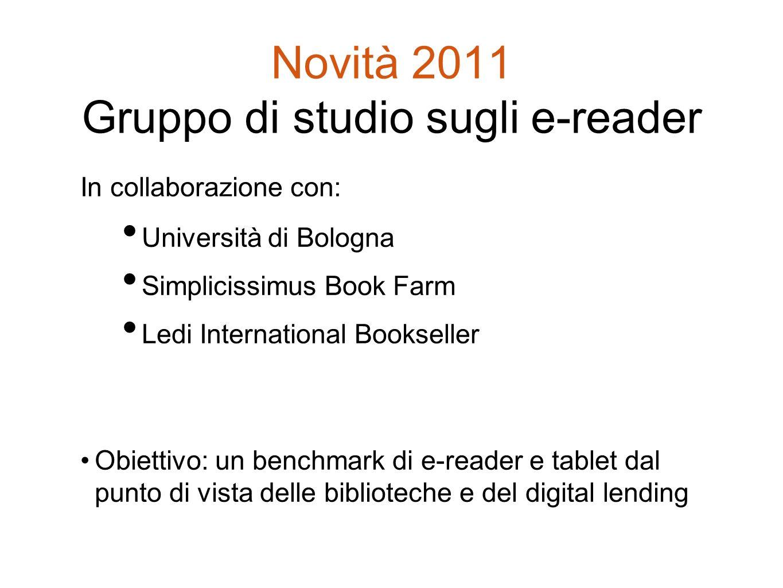 Novità 2011 Gruppo di studio sugli e-reader