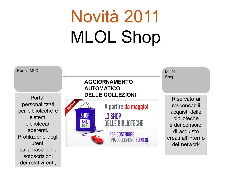 Novità 2011 MLOL Shop AGGIORNAMENTO AUTOMATICO DELLE COLLEZIONI