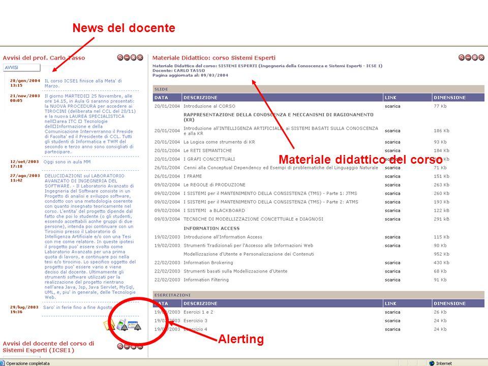 News del docente Materiale didattico del corso Alerting