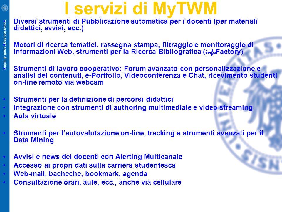 I servizi di MyTWM Diversi strumenti di Pubblicazione automatica per i docenti (per materiali didattici, avvisi, ecc.)