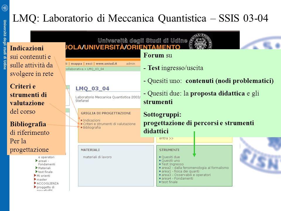 LMQ: Laboratorio di Meccanica Quantistica – SSIS 03-04