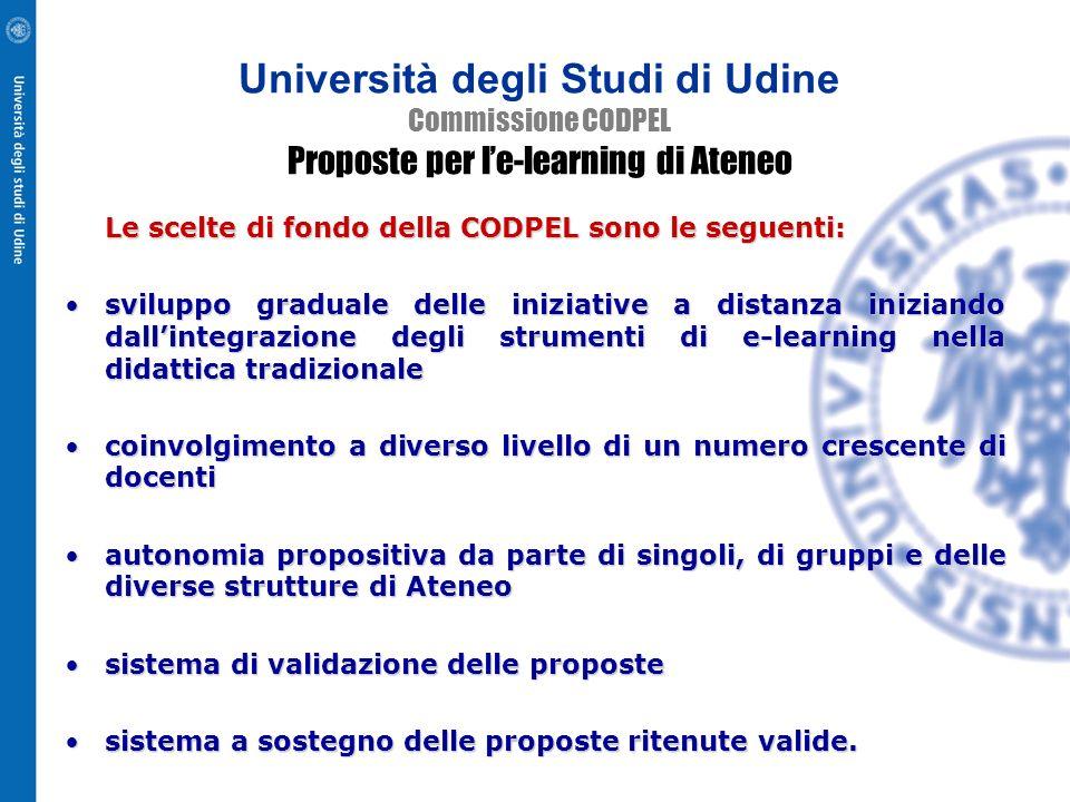 Università degli Studi di Udine Commissione CODPEL Proposte per l'e-learning di Ateneo