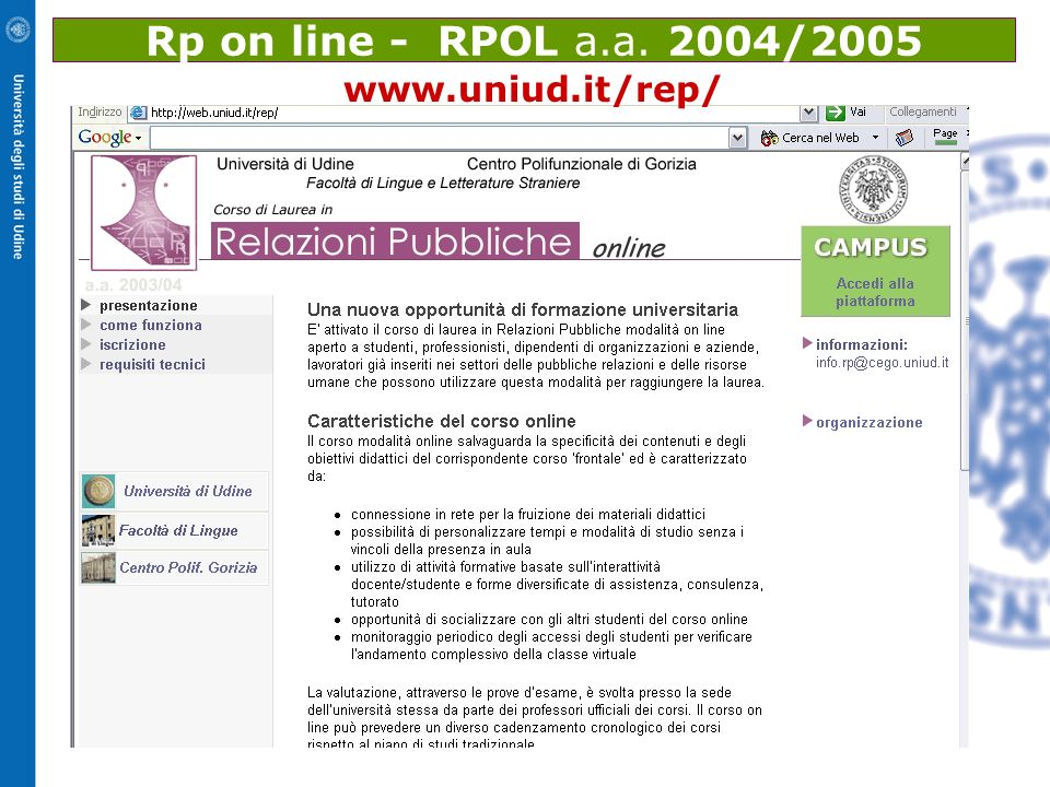 Rp on line - RPOL a.a. 2004/2005 www.uniud.it/rep/