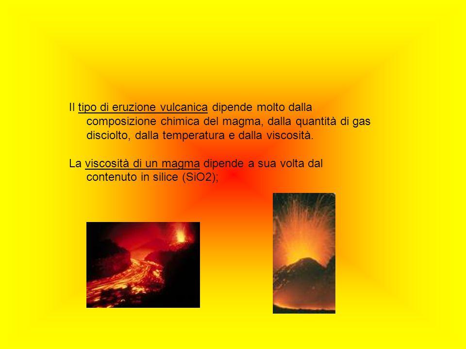 Il tipo di eruzione vulcanica dipende molto dalla composizione chimica del magma, dalla quantità di gas disciolto, dalla temperatura e dalla viscosità.