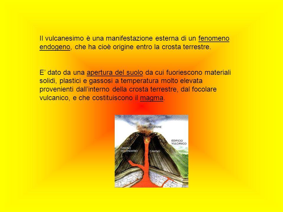 Il vulcanesimo è una manifestazione esterna di un fenomeno endogeno, che ha cioè origine entro la crosta terrestre.