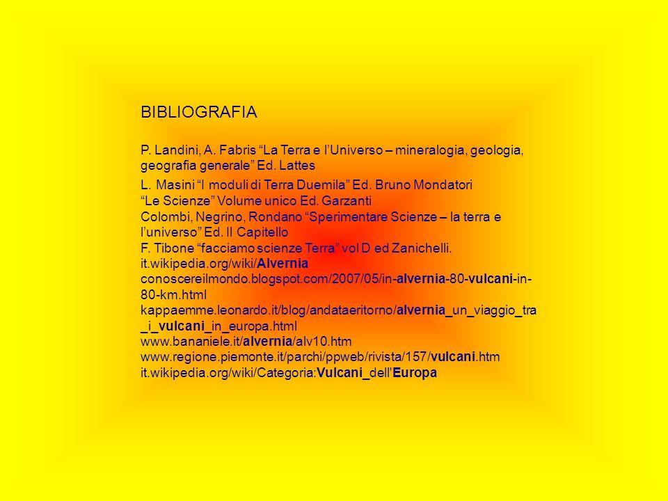 BIBLIOGRAFIA P. Landini, A. Fabris La Terra e l'Universo – mineralogia, geologia, geografia generale Ed. Lattes.