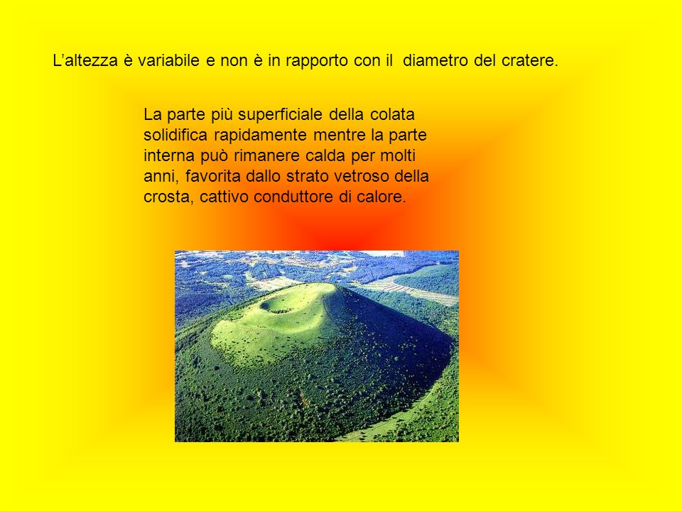 L'altezza è variabile e non è in rapporto con il diametro del cratere.