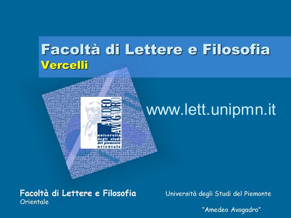 Facoltà di Lettere e Filosofia Vercelli