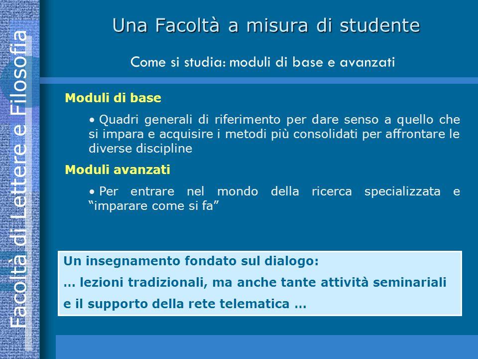 Una Facoltà a misura di studente Come si studia: moduli di base e avanzati