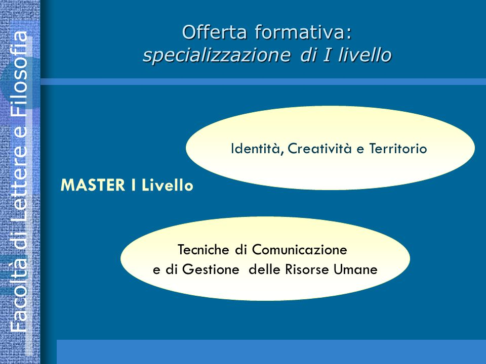 Offerta formativa: specializzazione di I livello